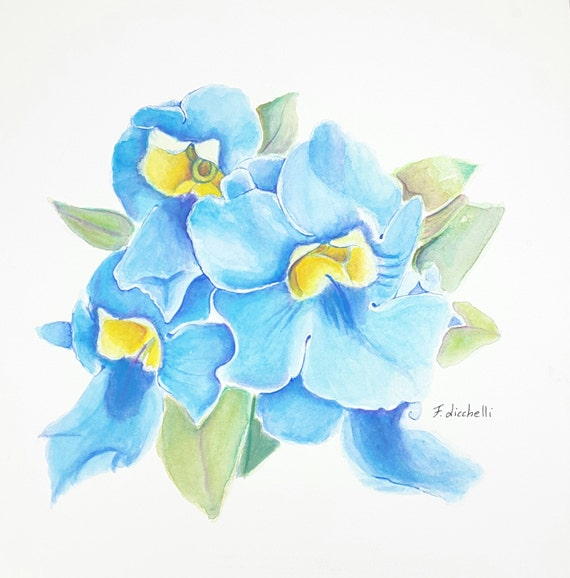 Watercolors depicting blie flowers, square format, original painting, gift idea for her, traditional decore for bedroom or living room.