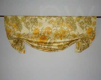Robert Allen Olive and Yellow Floral Chintz Valance