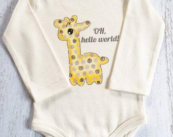 OH hello world! Baby Giraffe, Gender Neutral Baby Clothes, Certified Organic Cotton Bodysuit, Teether Toy, Organic Baby Clothes, Baby Shower