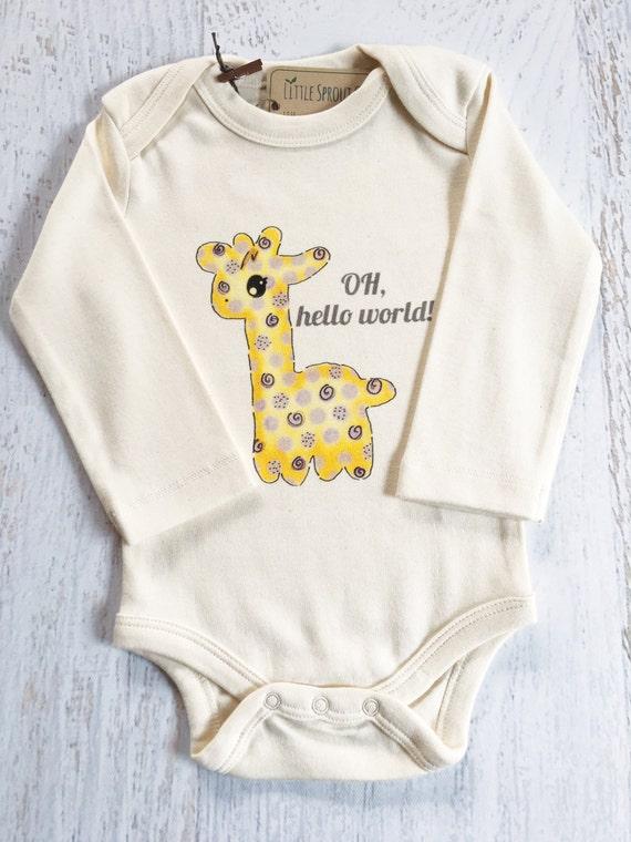 OH hello world Baby Giraffe Gender Neutral Baby Clothes