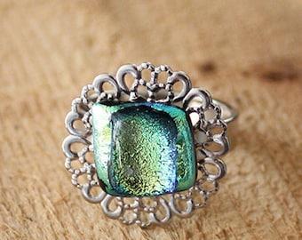 Teal Metallic Fused Glass Statement Ring