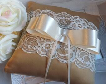 CYNTHIA - Ring Bearer Pillow, Wedding Ring Pillow, Gold Ring Pillow, Lace Ring Pillow, Ivory Ring Pillow, Gold Ring Pillow, Ring Cushion