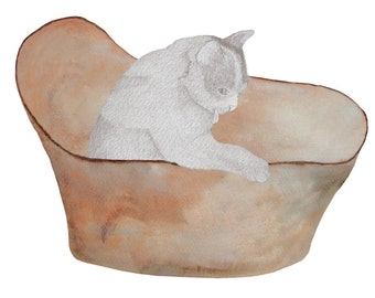 Cat Bathtime - Greeting Card
