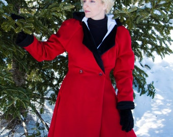 Fitted Red Wool Coat