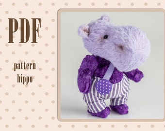PDF Pattern for Teddy hippo for 4 inches Instant Download hippopotamus toy Sewing Digital Download