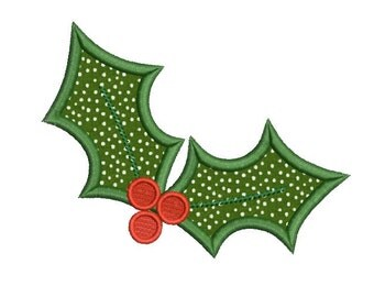 Christmas embroidery design - Holly berry applique design - Winter embroidery - Machine embroidery digital file - 4x4 5x7 6x10