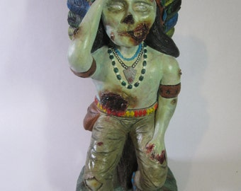 Zombie Native American Plaster Sculpture
