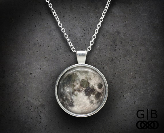 moon necklace full moon pendant full moon jewelry gift full