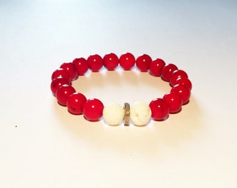 Red coral & 0,22 carat REAL DIAMOND male bracelet