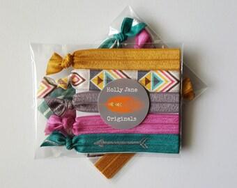 No-Fray Hair Ties, elastic FOE hairties, no crease hair ties, set of 5 no-fray hairties, stocking stuffer (aztec desert, silver arrow)