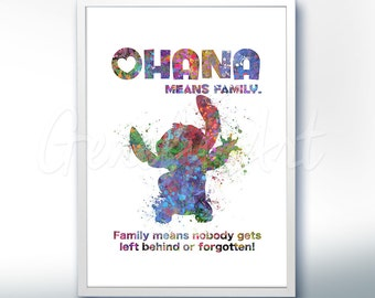 Disney Lilo and Stitch Ohana Watercolor Poster Print - Watercolor Painting - Watercolor Art - Kids Decor- Nursery Decor