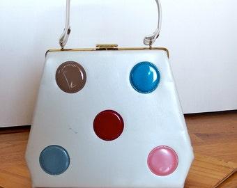 1950s 1960s White Vinyl Handbag Purse with contrasting Vinyl Circles
