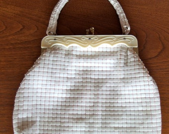 1940s 1950s Mesh Purse Wedding Formal Handbag Ivory Lucite opening