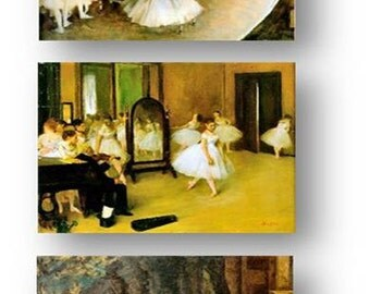 Classic Artist Edgar Degas, Ballet and Ballerina Dancers, Set of 3 Prints