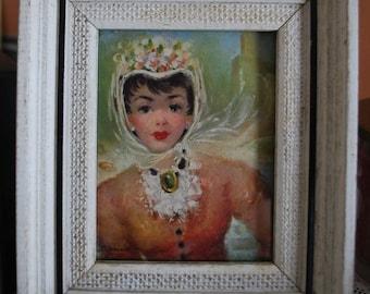 Shabby Chic  mid century vintage ladies fashion framed art print