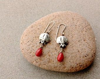 Sterling silver earrings with pomegranates and high quality artificial red pearl, artisan, metalsmith, armenian, autumn, etnic, rustic