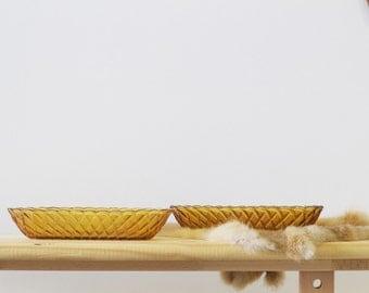 Vintage Oblong Glass Amber Serving Dish | Retro Decor