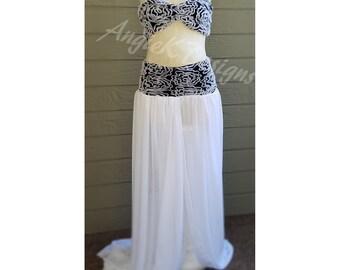Black/White FlowerMesh/ FlowyChiffon Maternity 2 in1 Set/Dress/Gown/Pregnancy Photo shoot/BabyShower/Photo Session/Maternity Dress