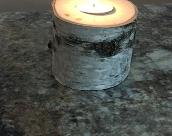 Birch log tea candle holder