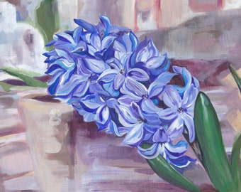 Original Acrylic Hyacinth Painting, unmounted and unframed on card Signed and dated. bright and cheerful flower art for home, office or gift