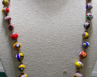 "Millefiori  24"" Glass Bead Necklace"