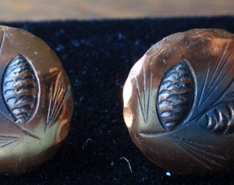 NYE Copper and Sterling Pine Cone  Earrings