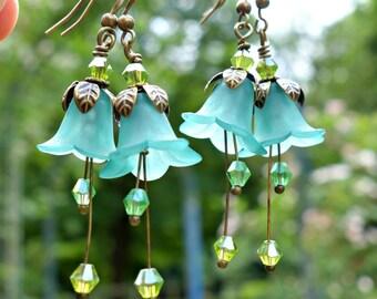 Turquoise Earrings - Flower Earrings - Floral Earrings - Woodland Earrings - Vintage Style Nature Jewelry - Bohemian Earrings - Dangle Drop.