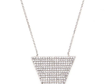 """Silver Triangle Necklace. 18"""" 925 Sterling Silver."""