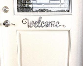 Rustic Metal Script Welcome sign