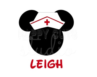 Personalized Nurse Minnie Decal / Doctor Hospital RN Hat Job Family Matching Vacation Mom Aunt Mickey Mouse Disney Iron On Vinyl Shirt 017