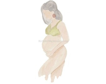 Pregnant Mother Birth Watercolor - Doula / Midwife logo and Commercial use - clipart art image download
