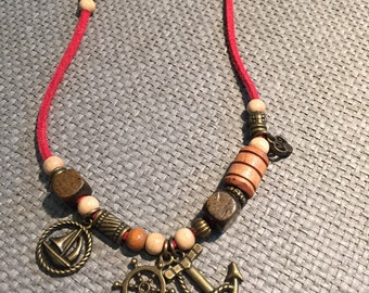 Boho Red pearl leather chain Maritim style