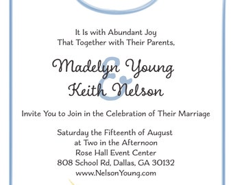 Sunflower Blues Watercolor Rustic Wedding Invitation Front and Back Design