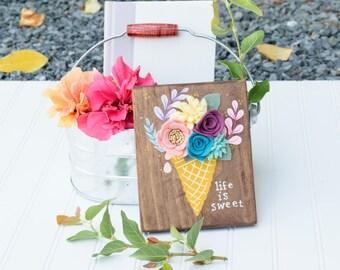 Flower Bouquet Cone Wood Art