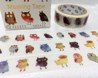 Owl Masking tape 5M owl sticker tape watercolor owl baby owl cute bird masking tape owl decor removable adhesive tape scrapbook gift