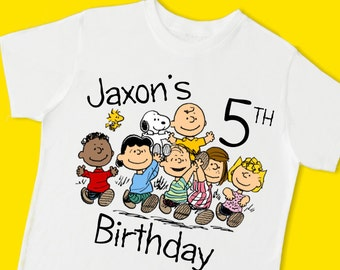 Peanuts Gang Birthday Tee. Personalized Birthday T-Shirt. Personalized with Name, Age or Number. 1st 2nd 3rd 4th 5th 6th Birthday. (15071)