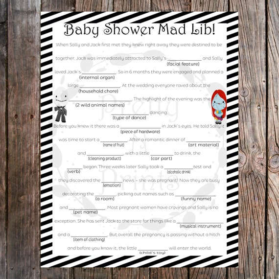 baby shower mad lib the nightmare before christmas baby shower