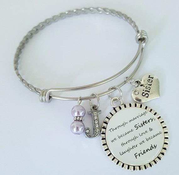 Sister in Law Bracelet / Sister in Law Bangle Bracelet / Wedding Keepsake / Gift for Sister in Law / Sister in Law Wedding Keepsake
