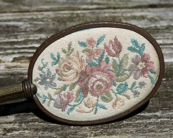 Antique Embroidered Brass Handle Vanity Hairbrush
