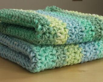 Washcloth / Crochet Washcloths / Dishcloths / Dish Cloths / Wash Cloths / 100% Cotton / Handmade /Green / Blue