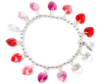 Red Candy Hearts Sterling Silver & SWAROVSKI crystal Charm Bracelet