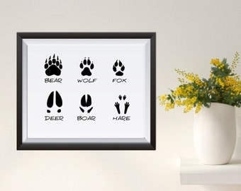 Animal tracks Animal Track Illustrations Wall Art Print gold digital poster print Instant Download  Woodland bear wolf fox deer boar hare