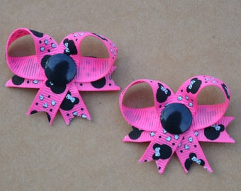 Pink Minnie Mouse Snap In Dog Bow Set