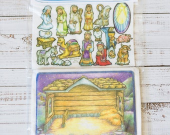 Nativity 7 in - story picture pocket, felt boards, felt pieces, girls and boys, quite toy, church toy, car toy, flannel board