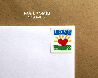 Love Sunrise  || Set of 9 unused vintage love postage stamps