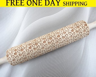 Various small Hearts engraved rolling pin + Cookie cutter & FREE Shipping
