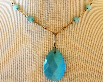 Avon NR Nina Ricci Beaded Pendant Necklace, Faceted Teardrop Pendant, Blue, Beaded Necklace, Vintage Costume Jewelry, Free Shipping