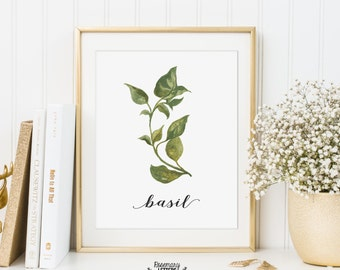 Basil Printable, Kitchen Art, Herb Printable, Kitchen Printable, Herb Wall Art, 5x7 and 8x10 Printable, Instant Download