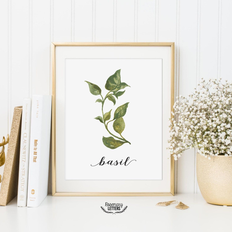 Basil Printable Kitchen Art Herb Printable Kitchen