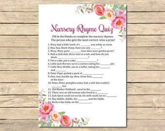 Pink Peonies Nursery Rhyme Printable Game, Pink Floral Nursery Rhyme Quiz, Pink Peonies Baby Shower Quiz, DIY Game, Instant Download 009-W